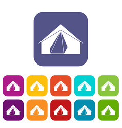 open tent icons set flat vector image