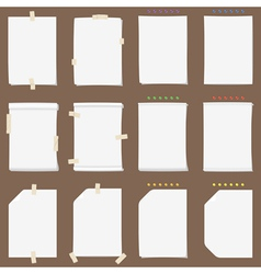 Paper sheet collection with solid shadows vector image