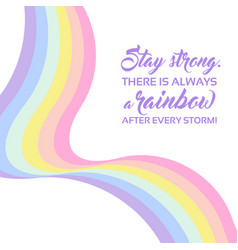 Pastel rainbow background inspirational quote vector