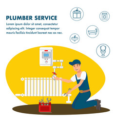 plumber service flat banner template vector image