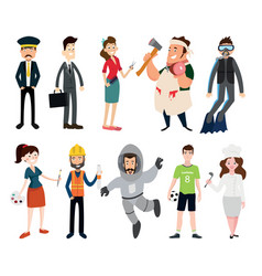profession set on white background vector image