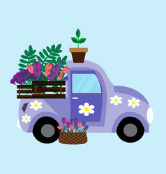 purple car with flowers vector image