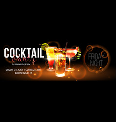 realistic cocktail poster vector image