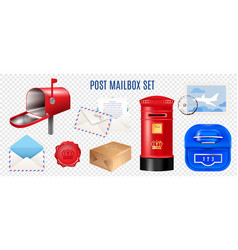 realistic postage elements transparent set vector image
