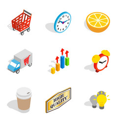 reclame icons set isometric style vector image