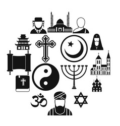 religion simple icons set vector image