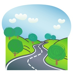 Road with trees on both sides vector