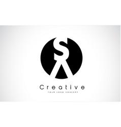 Sa letter logo design inside a black circle vector