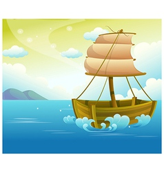 Sailing Wooden Boat in Sea vector image