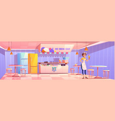 Saleswoman in ice cream shop or parlor or cafe vector