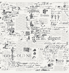 Seamless pattern with illegible scribbles and text vector