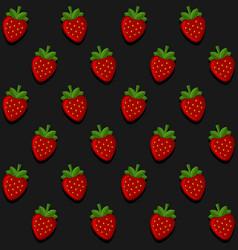 seamless strawberry pattern on dark background vector image