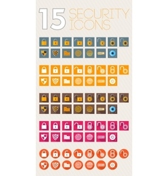 Security icons flat style color and white vector