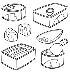 set of canned fish vector image