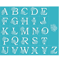 set of floral alphabet vector image