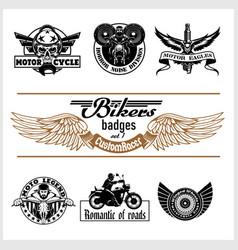 set vintage motorcycle labels badges and vector image