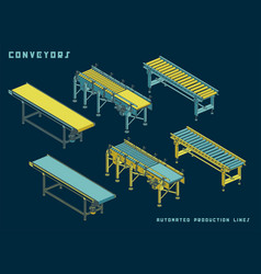 several types conveyors isometric view vector image