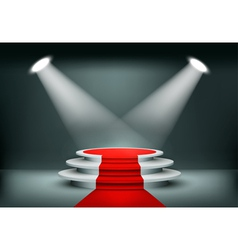 Showroom Background With A Red Carpet vector