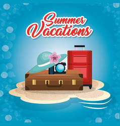 Summer vacattions set icons vector