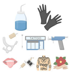 Tattoo studio set icons in cartoon style big vector