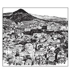 The city of athens circa 1912 vintage vector