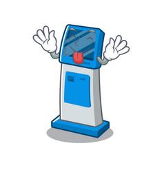 Tongue out digital information cartoon kiosk next vector