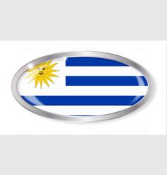 Uruguay flag oval button vector