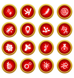 virus bacteria icons set simple style vector image