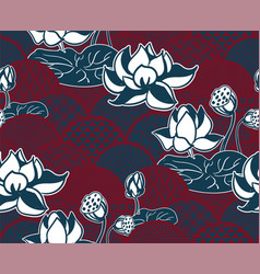 water lily traditional kimono pattern sketch line vector image