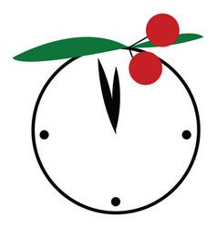 white round clock with cherry decoration or color vector image