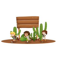 Wooden board with three kids in desert vector