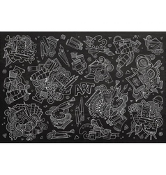 Art and paint materials doodles chalkboard vector image
