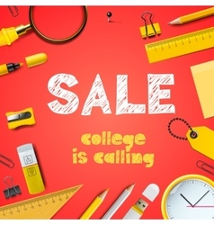 Back to school sale college is calling vector image vector image