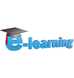 e learning graduation cap word 3D vector image vector image