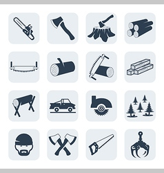 Lumberjack and sawmill icons set vector