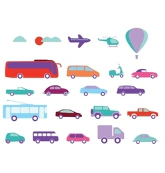 Public transport flat icons vector image