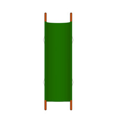 Retro stretcher in green design with wooden handle vector
