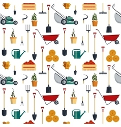 Seamless pattern farm tools flat- vector image