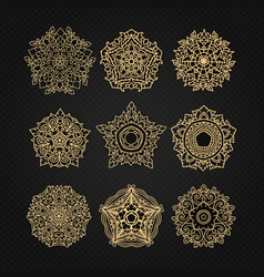 set of circular ornaments sketches for tattoo vector image vector image