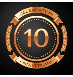 Ten years anniversary celebration with golden ring vector image vector image