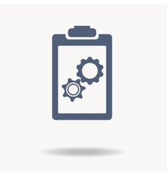 blue clipboard with blank paper gears inside vector image