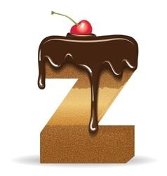 Cake letter Z- birthday font vector image