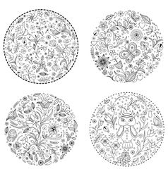 floral hand drawn patterns vector image vector image
