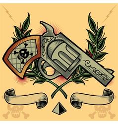 Gun Wreath Ribbons and Pyramid vector image vector image