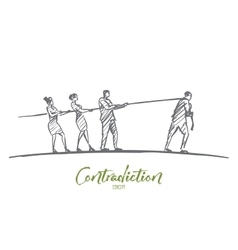 Hand drawn people pulling rope to different sides vector image