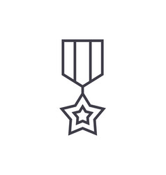 medal star line icon sign on vector image vector image