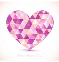 Pink diamond triangles texture realistic heart vector image vector image