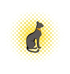 Egyptian cat icon in comics style vector image