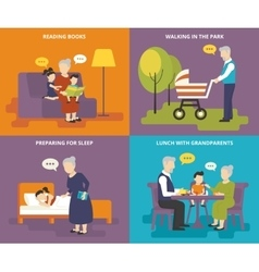 Grandparents are playing with children vector image vector image