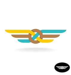 Link knot logo with wings Flat style weave symbol vector image